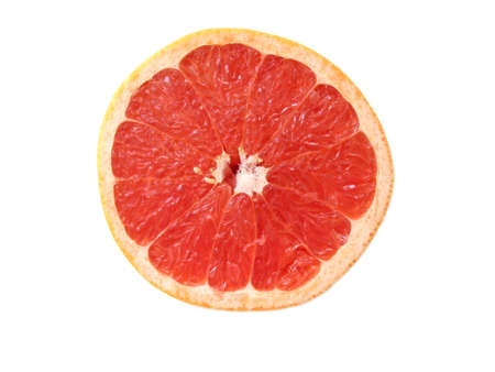 Half of rubi red grapefruit, isolated on white, top view