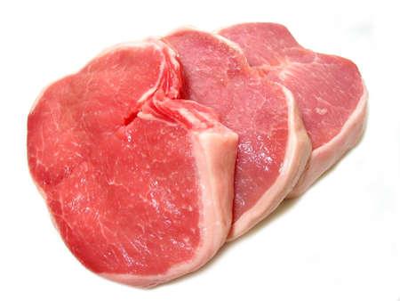 Raw pork chops isolated on white background Banco de Imagens - 367463