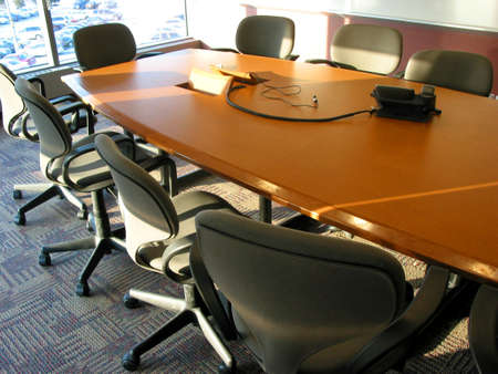 teleconference: Business meeting of conference room interior