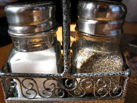 Salt and pepper, closeup photo
