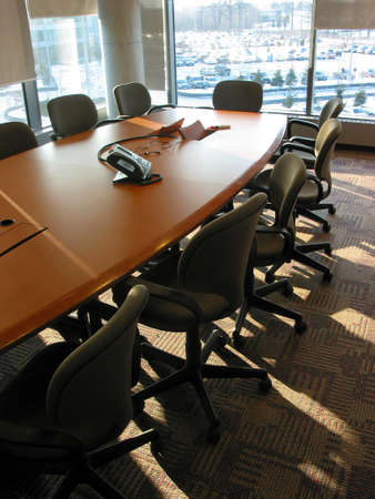 teleconference: Empty business conference room