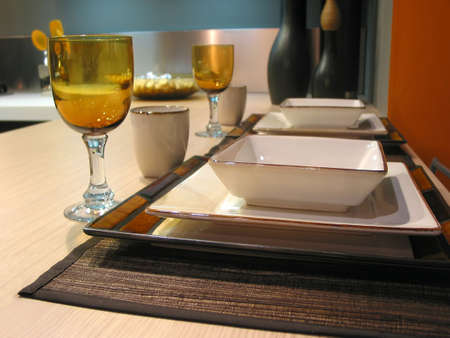 placemats: Table setting in a modern kitchen