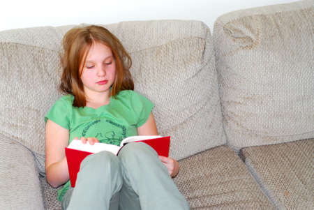 Young girl reading a book on a couch Stock Photo - 375140