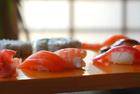 Sushi on a wooden board