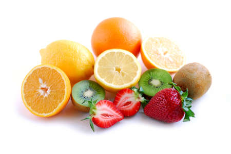 Assorted fruit on white background photo