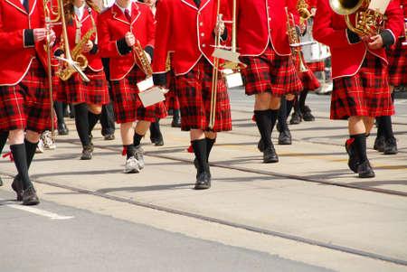 march band: Marching band at parade