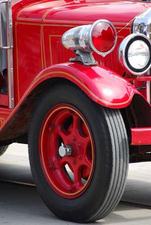 antique fire truck: Red retro truck fragment