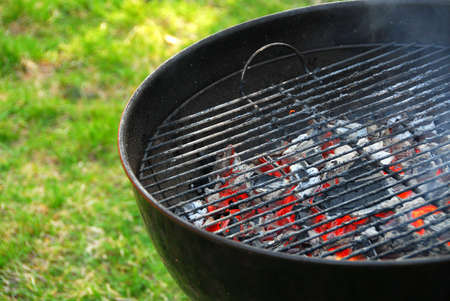 Wood burning barbeque Stock Photo