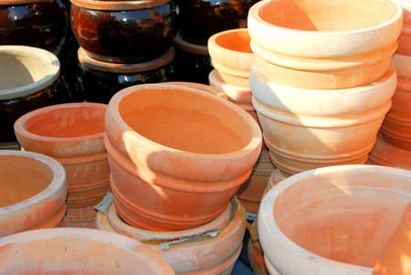 Clay pots for sale Stock Photo