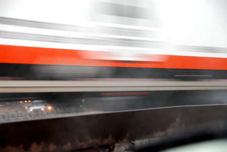 Motion blur of fast moving truck Stock Photo