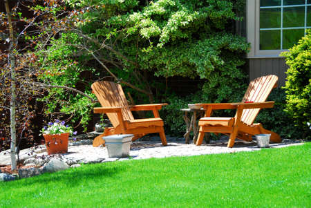 House patio with wooden chairs Stock Photo - 408390