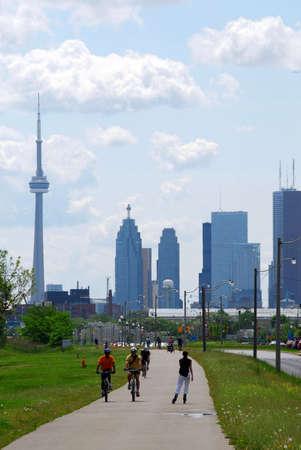 Toronto city skyline with recreation trail