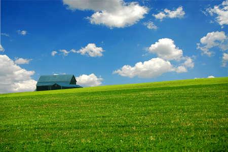 Barn in summer farm field,  deep blue sky Stock Photo - 441567