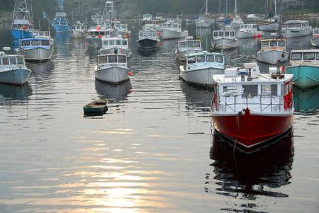 霧の日にパーキンス コーブ、メイン州、港で漁船
