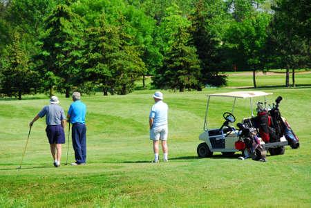 golfing: Drie hooggeplaatste mannen op golfbaan met een golfkar