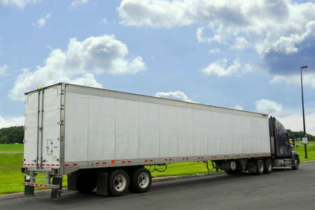eighteen: Eighteen wheeler truck on a truck stop Stock Photo