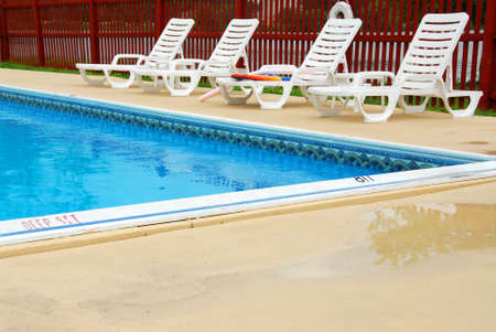 Empty swimming pool on a luxury hotel Stock Photo