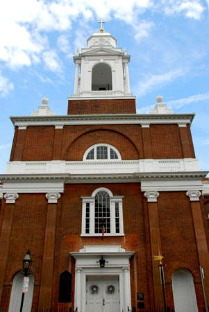 Old brick church in Boston North End photo