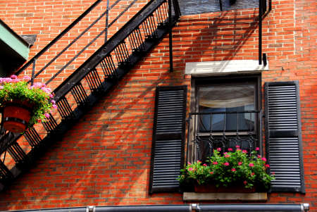 Fragment of a red brick house in Boston historical North End photo
