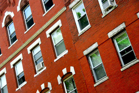 north   end: Fragment of a red brick house in Boston historical North End Stock Photo