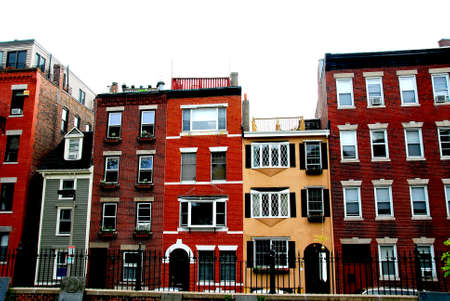 Row of brick houses in Boston historical North End photo