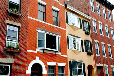 north   end: Row of brick houses in Boston historical North End