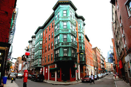 Street intesection in Boston historical North End photo