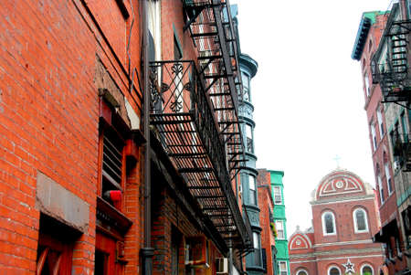 Old narrow street in Boston historical North End photo