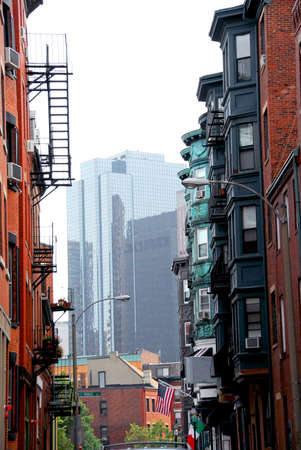 Boston street - view from historical North End to downtown Stock Photo - 475503