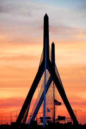 Leonard Zakim bridge in Boston at sunset Stock Photo - 475504