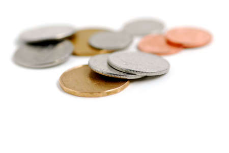 dime: Canadian coins on white background