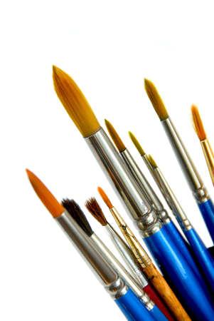 Paintbrushes on white background photo
