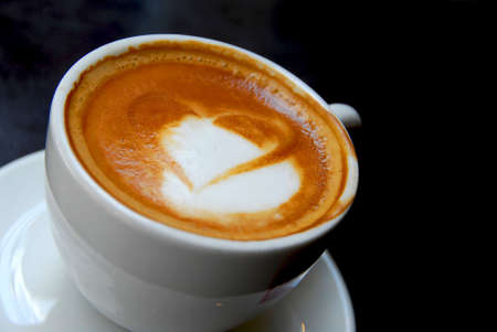 Cappuccino with heart shape on foam