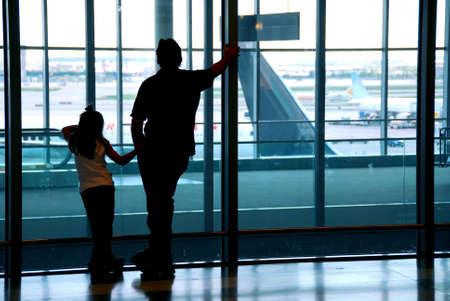 Family waiting at the international airport terminal Stock Photo - 532698