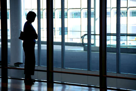 Woman waiting at the international airport terminal Stock Photo - 532695