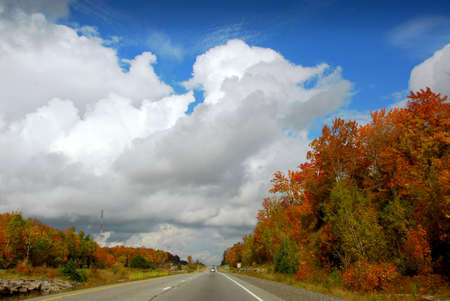 Divided highway in the fall Stock Photo - 552570