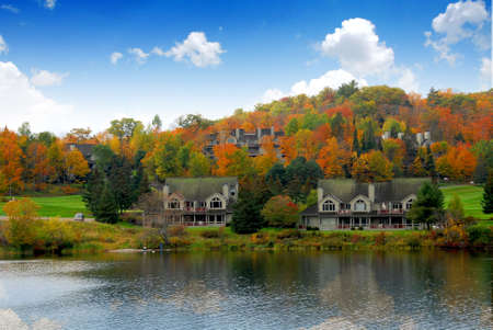 Luxury resort on a lake in the fall