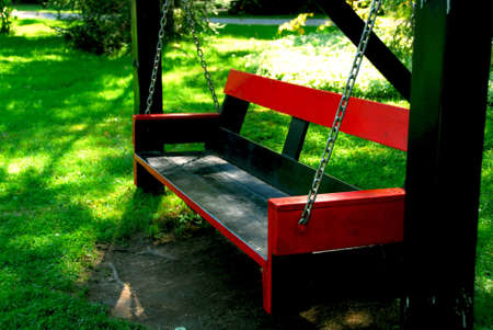 Bench swings at forest cottage