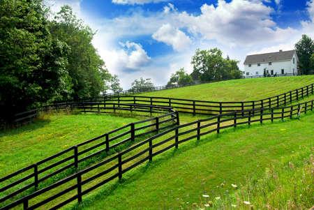 Landwirtschaftliche Landschaft mit üppigem Grün fängt und Bauernhofhaus auf