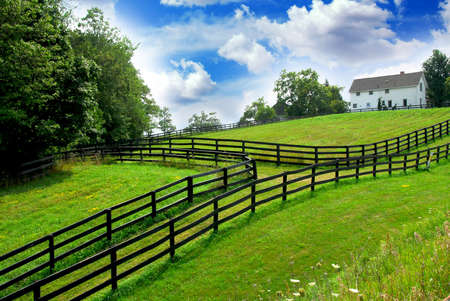 rancho: Paisaje rural con exuberantes campos verdes y casa de campo situada