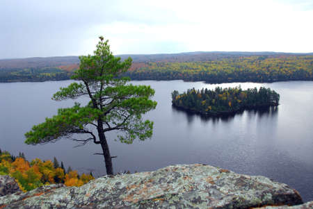 Scenic view of lake and island in Algonquin provincial park Ontario Canada from hill top photo