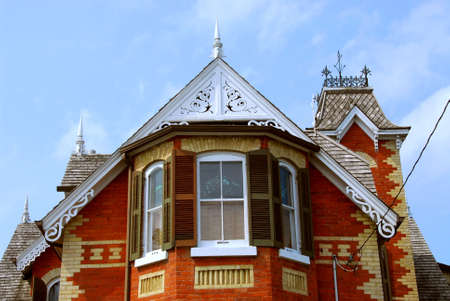 Fragment of a beautiful red brick victorian house