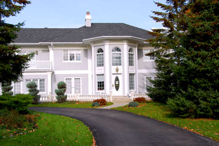 Beautiful mansion in grey and white color Stock Photo - 578066