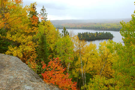 Scenic view of autumn forest and hills in Algonquin provincial park Ontario Canada Stock Photo - 578074