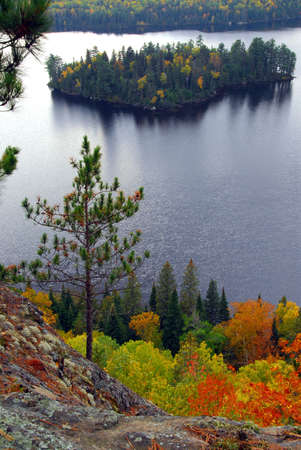 provincial: Scenic view of a lake and islands in Algonquin provincial park Ontario Canada from hill top Stock Photo