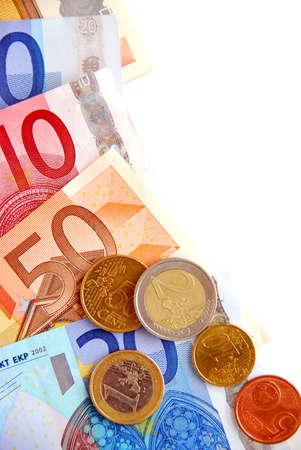 유럽의: Currency of European union  bills and coins