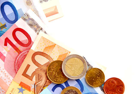 Currency of European union bills and coins, space for copy