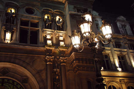 hotel: Hotel de Ville in Paris France at night