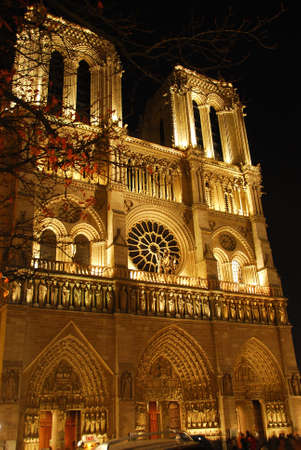 Cathedral of Notre Dame de Paris at night Stock Photo - 599507