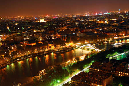 View of Paris from Eiffel tower at night